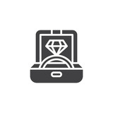 Engagement ring in a jewelry box vector icon. filled flat sign for mobile concept and web design. Proposal diamond ring in box simple solid icon. Symbol, logo illustration. Pixel perfect vector