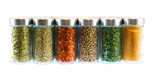collection of spice and herbs seasoning in glasses bottles isolated on white background - 235829478