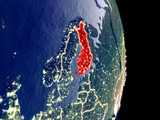 Satellite view of Finland at night with visible bright city lights. Extremely fine detail of the plastic planet surface. - 235850055