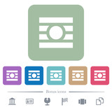 Text wrap around objects flat icons on color rounded square backgrounds