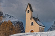 Dolomites church view in winter snow time