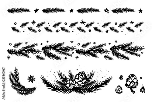 christmas border set with fir branches cones stars and snowflakes black and white