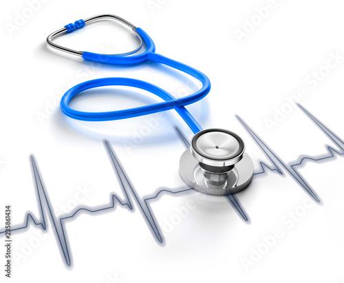 Blaues Stethoskop auf Kardiogramm - 235861434