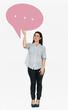 Leinwanddruck Bild - Cheerful woman holding a speech bubble symbol