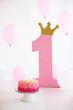 Leinwandbild Motiv First smash cake for girl