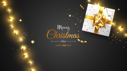 Vector photorealistic top view christmas still life. Vector design xmas banner, brochure cover. Merry christmas callygraphy. © Droidworker