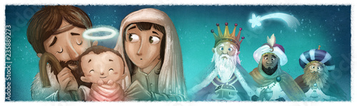 portal de belen y reyes magos en navidad © cirodelia