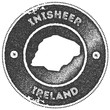 Inisheer map vintage stamp. Retro style handmade label, badge or element for travel souvenirs. Dark grey rubber stamp with island map silhouette. Vector illustration. - 235893202