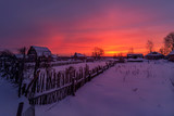 winter crimson decline on the outskirts of the village © Dmitry