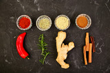 Fresh and dried seasoning herbs and spices - 235903465