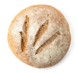 Fresh baked bread on white