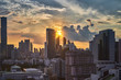golden sunset skyline cityscape and buildings