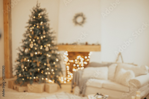 new year background christmas room interior design xmas tree decorated by lights presents gifts