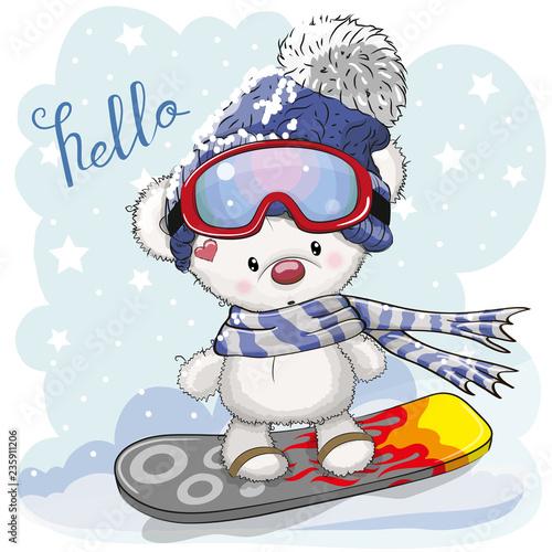 Cute cartoon Bear on a snowboard