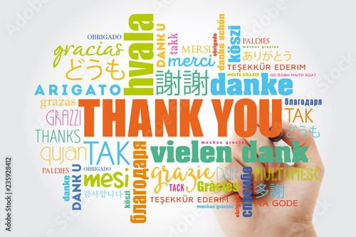 Thank You Word Cloud in all languages with marker, concept background - 235928412