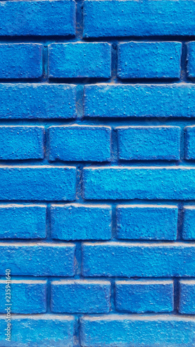 Blue brick wall - 235941640