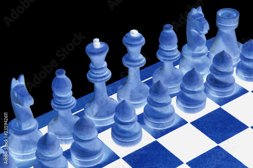 Abstraction. Chessboard with figures on a black background. Game for the mind and the development of thinking. Isolated. - 235942611