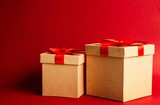 Gift boxes on red background - 235950616