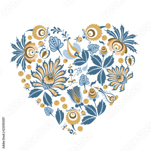 Scandinavian Floral heart background shape with flowers and leaves for greeting cards, posters, banners, and other projects - 235955017