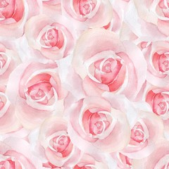 Pink delicate roses. Watercolor floral seamless pattern