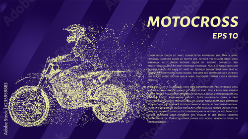 Motocross is made up of particles. Motorcycle of yellow dots. Vector illustration.