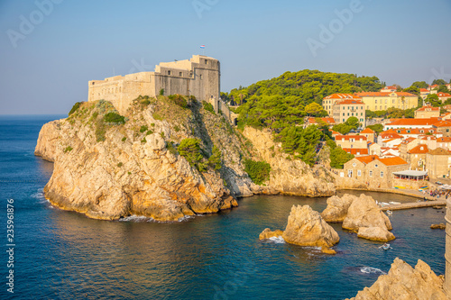 Leinwandbild Motiv Lovrijenac Fort at the northern harbor entrance from the old town walls in Dubrovnik, Croatia