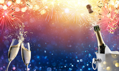 Celebration Toast With Champagne And Fireworks