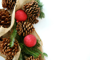 Christmas Bulb, Pinecone and Evergreen Border Isolated on White Background