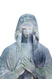 Virgin Mary ancient statue against white background. Prayer, faith, religion, love, hope concept. - 235967272