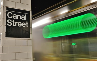 New York City Subway Station Canal Street MTA Platform Fast Speed Train