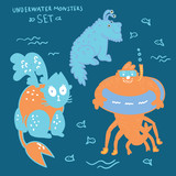 Cute underwater monsters and hand lettering set.