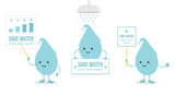 Set, collection of cartoon doodle water drop characters holding card in hands, giving presentation, asking to save water. Concept of right use of water resources. - 235981049