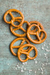Leinwanddruck Bild - Salted mini pretzels snack.