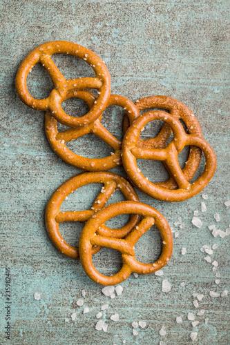Leinwanddruck Bild Salted mini pretzels snack.