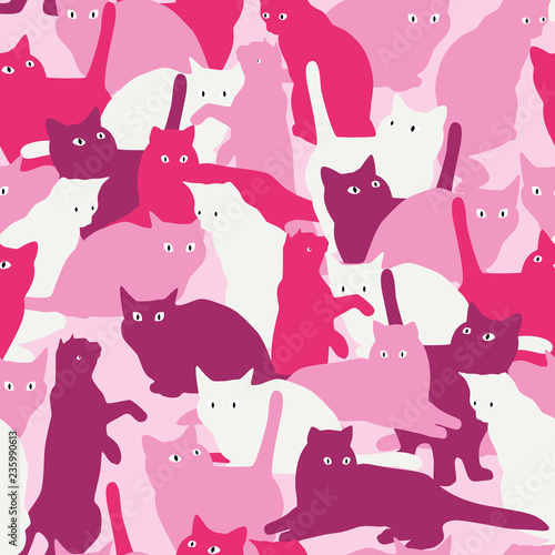 fototapeta na ścianę Seamless pattern with cats in military style