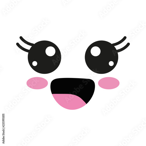 Vector illustration with kawaii faces - 235993811