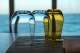 Table for two in shipboard restaurant by window - 236004077