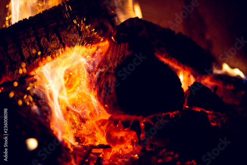 Embers and sparks close up. - 236008098