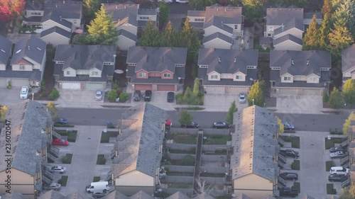 Plakat Aerial view of houses and homes shot from above