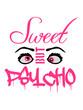canvas print picture - augen cool süß spruch sweet cute but psycho design lustig verrückt psychopath wahnsinnig crazy komisch niedlich hübsch schön mädchen frau weiblich girl frech klein logo text