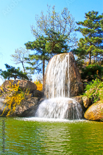 Waterfall and pool in the Panshan Mountain scenic spot, china - 236022614