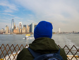 Unrecognizable man looking New York city from the ferry - 236024466