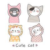 Draw cat Pastel color Doodle cartoon style.
