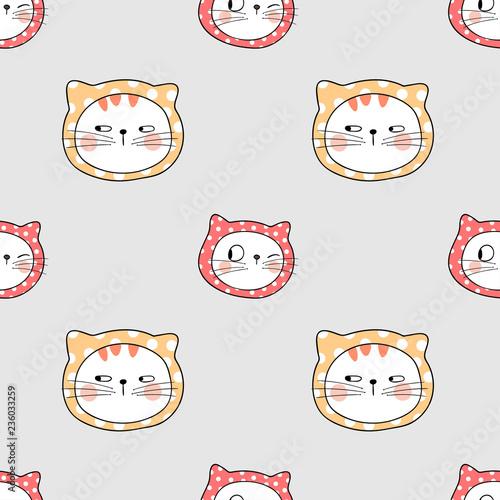 fototapeta na ścianę Draw seamless pattern cat with little polka dot.