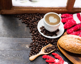 Hot coffee for Winter season with snow. Merry Christmas and Happy New Year on vacation holiday.