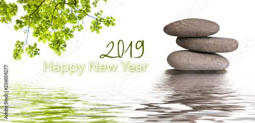 Leinwanddruck Bild zen banner happy new year card 2019