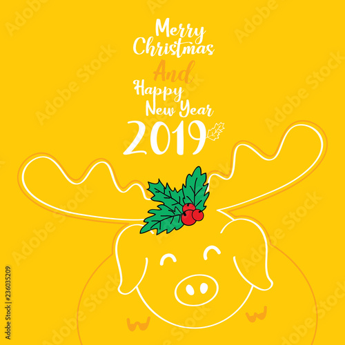 Merry Christmas and Happy new year 2019, Year of the pig, Cute piggy greeting card on yellow background - 236035209