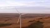 Aerial shots of a wind farm near Calhan in Colorado around sunset - 236035600