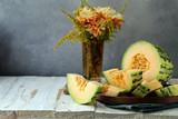 organic ripe orange melon on the table