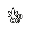 Cannabidiol formula line icon. Marihuana, hemp, drug. Cannabidiol concept. Vector can be used for topics like botany, narcotics, medicine